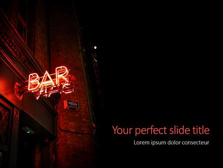 Neon Bar Sign Presentation Presentation Template, Master Slide