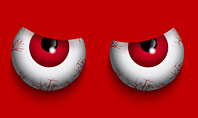 Cartoon Evil Red Eyes on Red Background Presentation Presentation Template