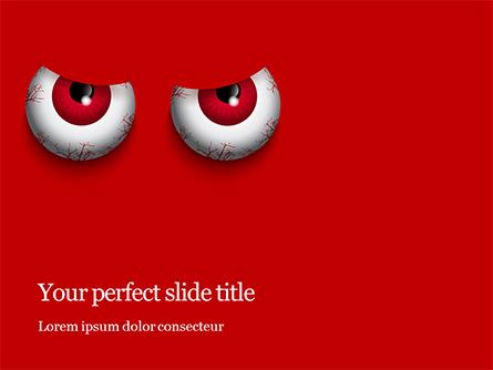 Cartoon Evil Red Eyes on Red Background Presentation Presentation Template, Master Slide