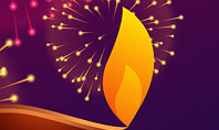 Traditional Diya Against Diwali Fireworks Background Presentation Presentation Template