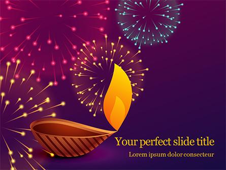 Traditional Diya Against Diwali Fireworks Background Presentation Presentation Template, Master Slide