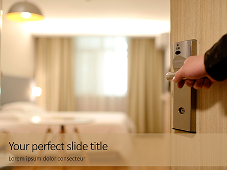 A Person Hand Opening Hotel Room Presentation Presentation Template, Master Slide