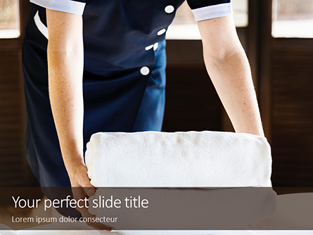 Housekeeper Cleaning a Hotel Room Presentation Presentation Template, Master Slide