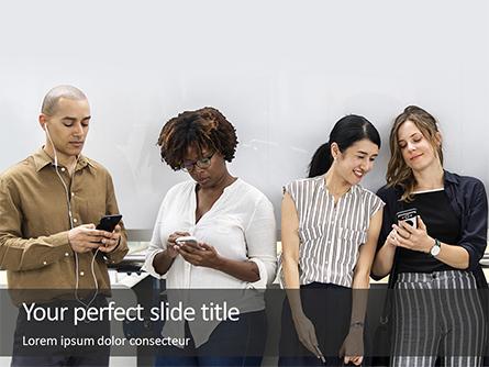 Group of Diverse People using Smartphones Presentation Presentation Template, Master Slide