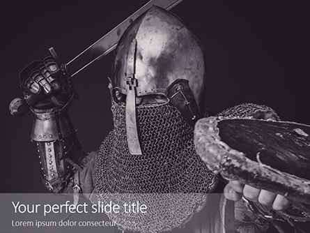 Attacking Knight with Sword and Wooden Shield Presentation Presentation Template, Master Slide
