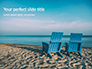 Two Blue Adirondack Chairs on the Beach Presentation slide 1