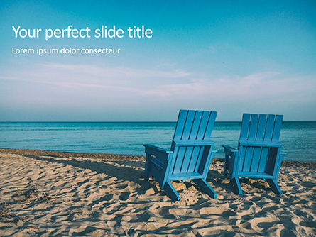 Two Blue Adirondack Chairs on the Beach Presentation Presentation Template, Master Slide