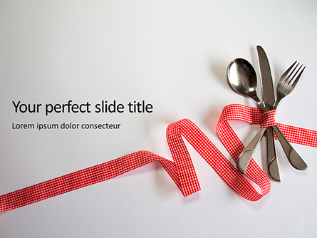 Fork Knife Spoon with Red Checked Tape Presentation Presentation Template, Master Slide