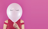 Woman with Pink balloon Instead of Her Face Presentation Presentation Template