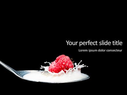Raspberry and Milk Splashing on Spoon on Black Background Presentation Presentation Template, Master Slide