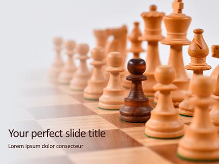 Chess Pawns on Chessboard Presentation Presentation Template, Master Slide