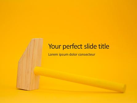 Wooden Mallet Hammer on Yellow Background Presentation Presentation Template, Master Slide