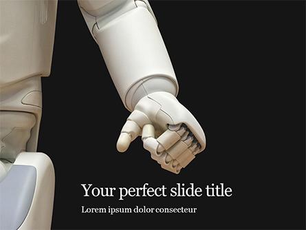 White Robot Hand Presentation Presentation Template, Master Slide