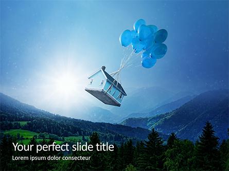 Flying Wooden House in The Blue Sky Presentation Presentation Template, Master Slide