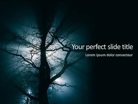 Spooky Night Shot of Tree in Fog Backlit by Streetlight Presentation Presentation Template, Master Slide