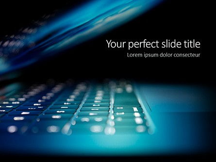 Close-up Laptop Keyboard Illuminated on Night Presentation Presentation Template, Master Slide