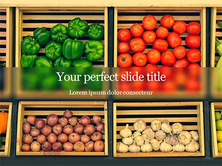 Assorted Vegetables on Brown Wooden Crates Presentation Presentation Template, Master Slide
