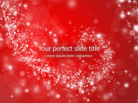 Silver Shine Stars Lights Swirl on Red Background Presentation Presentation Template, Master Slide