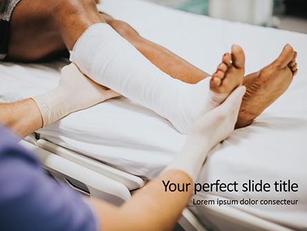 Doctor Bandaging Foot of Female Patient Presentation Presentation Template, Master Slide