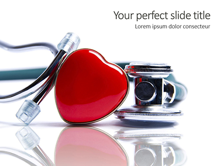 Stethoscope and Heart on White Surface Presentation Presentation Template, Master Slide