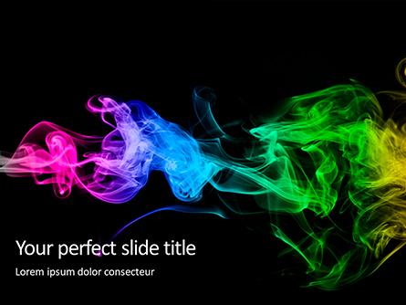 Beautiful Colorful Smoke on Black Background Presentation Presentation Template, Master Slide