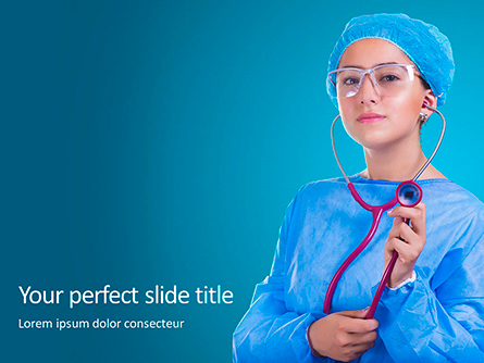 Cheerful Woman Physician in Blue Coat Against Turquoise Background Presentation Presentation Template, Master Slide