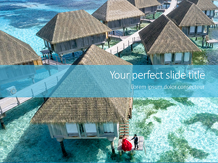 Beautiful Tropical Resort Bungalows Presentation Presentation Template, Master Slide