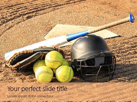 Softball Bat Helmet and Glove on Base Presentation Presentation Template, Master Slide