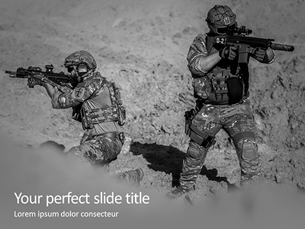 Two Men in Army Uniforms With Guns Presentation Presentation Template, Master Slide