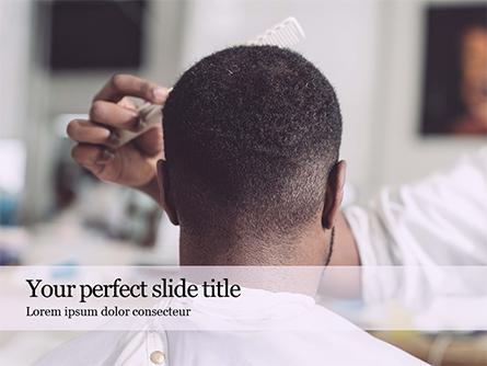 Barber Cutting in Barbershop Presentation Presentation Template, Master Slide