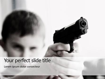 Young Boy Holding a Toy Gun Presentation Presentation Template, Master Slide