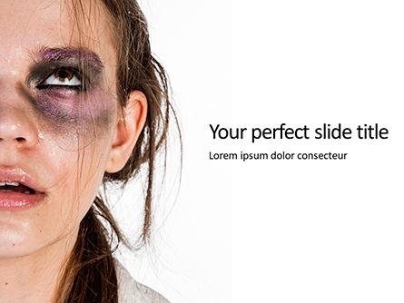 Woman With Black and Purple Eyeshadow Presentation Presentation Template, Master Slide