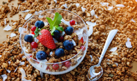 Bowl of Homemade Granola with Yogurt and Fresh Berries Presentation Presentation Template