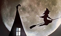 Scary Background with Flying Witch on the Full Moon Presentation Presentation Template