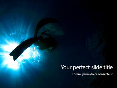 Scuba Diver Silhouette Against Sunburst Presentation Presentation Template, Master Slide