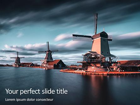 Three Windmills by the Lake Presentation Presentation Template, Master Slide