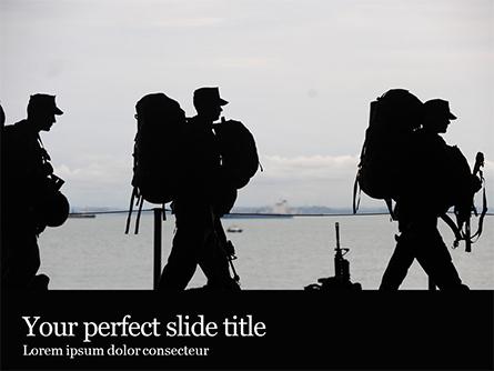 Marines Soldiers Silhouettes Presentation Presentation Template, Master Slide