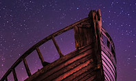 Abandoned Wooden Boat Against the Celestial Sky Presentation Presentation Template