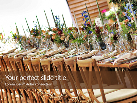 Wooden Dining Table with Flowers Decoration and Tableware Set Presentation Presentation Template, Master Slide