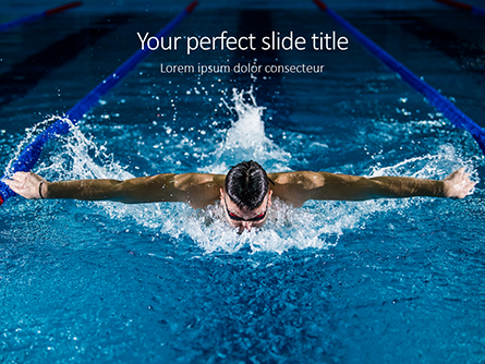 Muscular Young Man in Swimming Pool Presentation Presentation Template, Master Slide