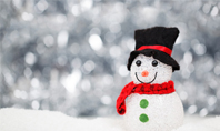 Snowman Against Blurred Festive Bokeh Background Presentation Presentation Template