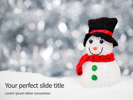 Snowman Against Blurred Festive Bokeh Background Presentation Presentation Template, Master Slide