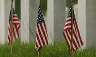 Arlington National Cemetery with Flag Next to Each Headstone During Memorial Day Presentation Presentation Template