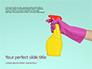 Female Hand Holds Dispenser on Turquoise Background Presentation slide 1