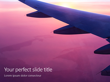 Airplane Wing with Sunrise in Light Flare Presentation Presentation Template, Master Slide
