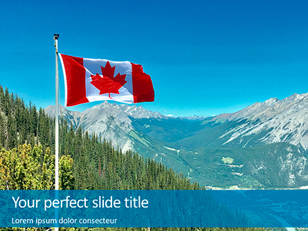 National Flag of Canada Flying on the Top of Sulphur Mountain Presentation Presentation Template, Master Slide
