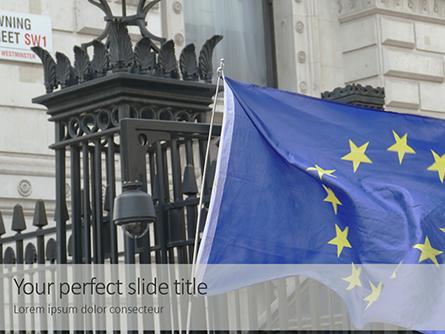 European Union Flag Flying on Downing Street Presentation Presentation Template, Master Slide