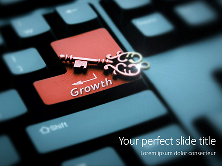 Keyboard with Key and Growth Word Presentation Presentation Template, Master Slide