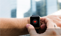 Close up of Hands with Heart Icon on Smartwatch Presentation Presentation Template