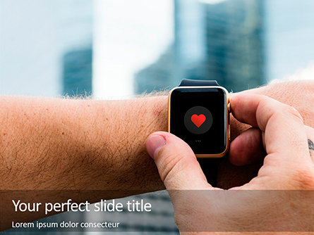 Close up of Hands with Heart Icon on Smartwatch Presentation Presentation Template, Master Slide